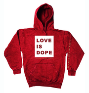 LOVE IS DOPE | RED MINERAL HOODIE [W]