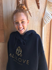 ALLLOVE SIGNATURE CREST | CROP FLEECE HOODIE *GOLD EDITION*