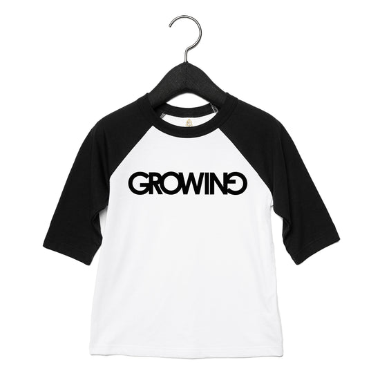 GROWING | TODDLER BASEBALL TEE [BLACK]
