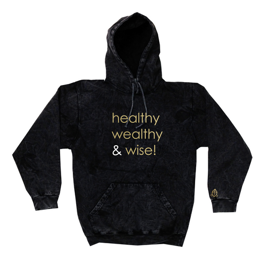 healthy wealthy & wise | GREY MINERAL WASH HOODIE
