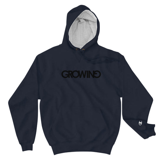 GROWING| [BLACK] | CHAMPION COLLAB HOODIE *PRINTED*