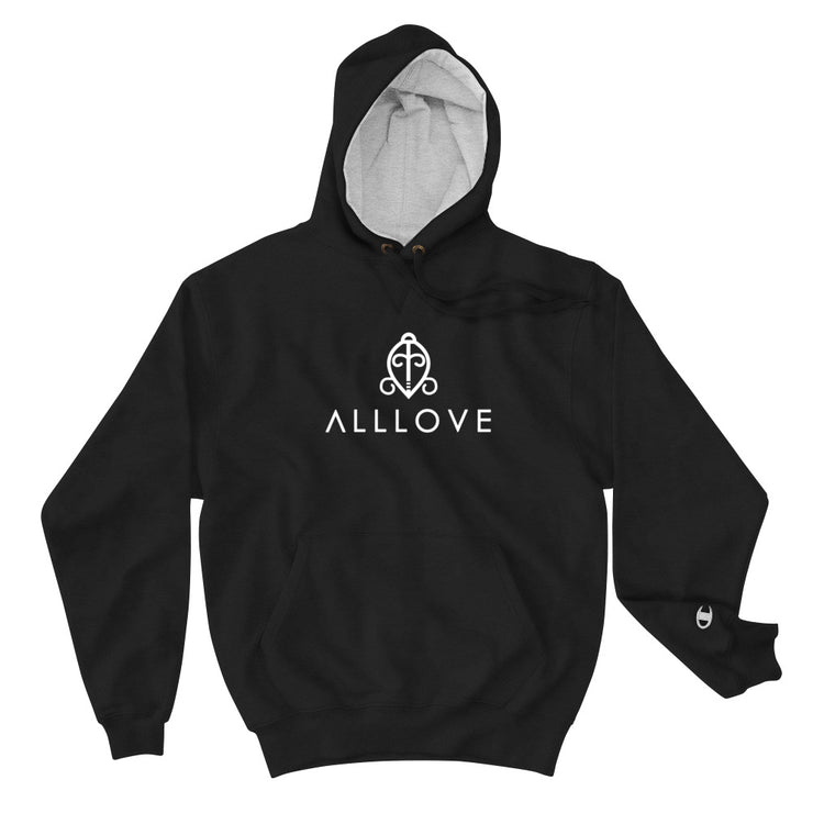 ALLLOVE SIGNATURE| [WHITE] | CHAMPION COLLAB HOODIE *PRINTED*