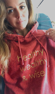 healthy wealthy & wise | RED MINERAL HOODIE [W]