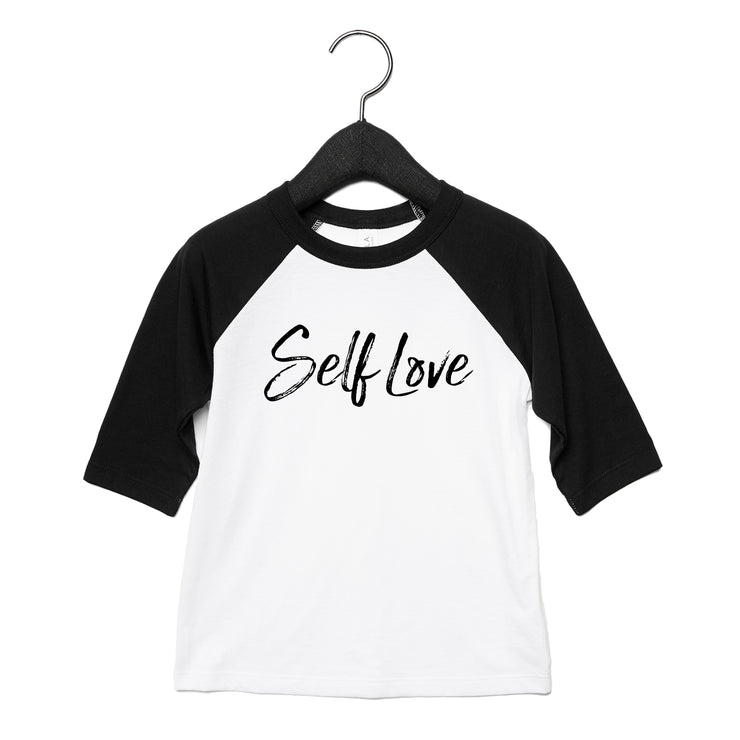SELF LOVE | TODDLER BASEBALL TEE [BLACK]