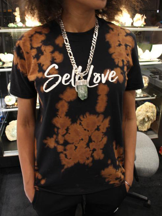 SELF LOVE MANTRA | BLACK BLEACH OUT UNISEX TEE