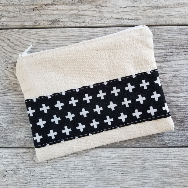 Monochrome Cross Print Reusable Bag