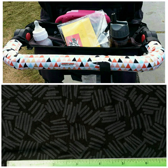 Black and Gray Lines BOB Stroller Handle Cover