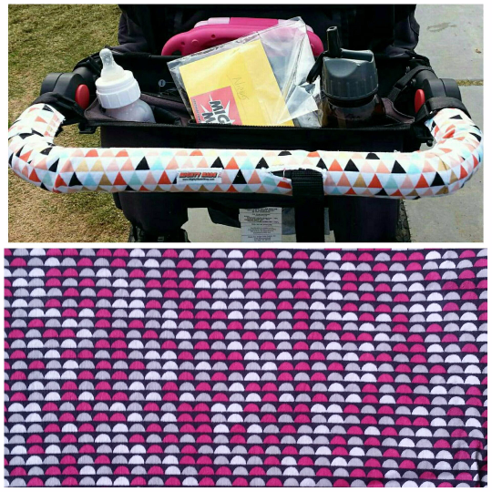 Black - Pink - White - Gray Half Dot Print BOB Stroller Handle Cover