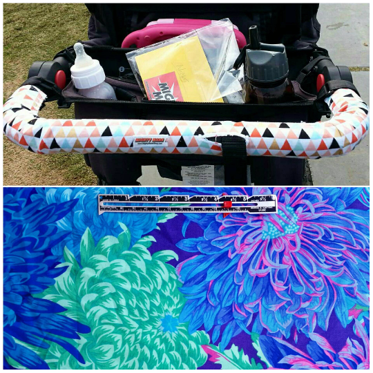 Blue Floral Print BOB Stroller Handle Cover