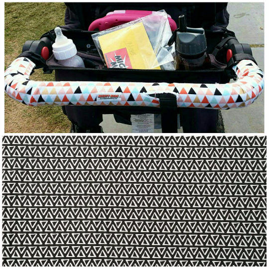 Black - White Triangles Print BOB Stroller Handle Cover