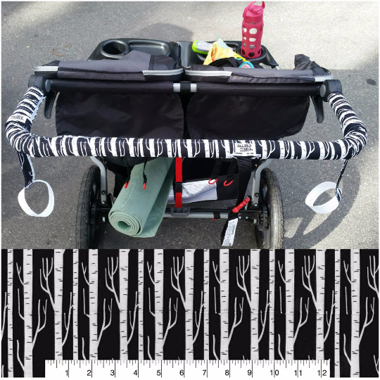 Birch Tree Black and White Print BOB Stroller Handle Cover