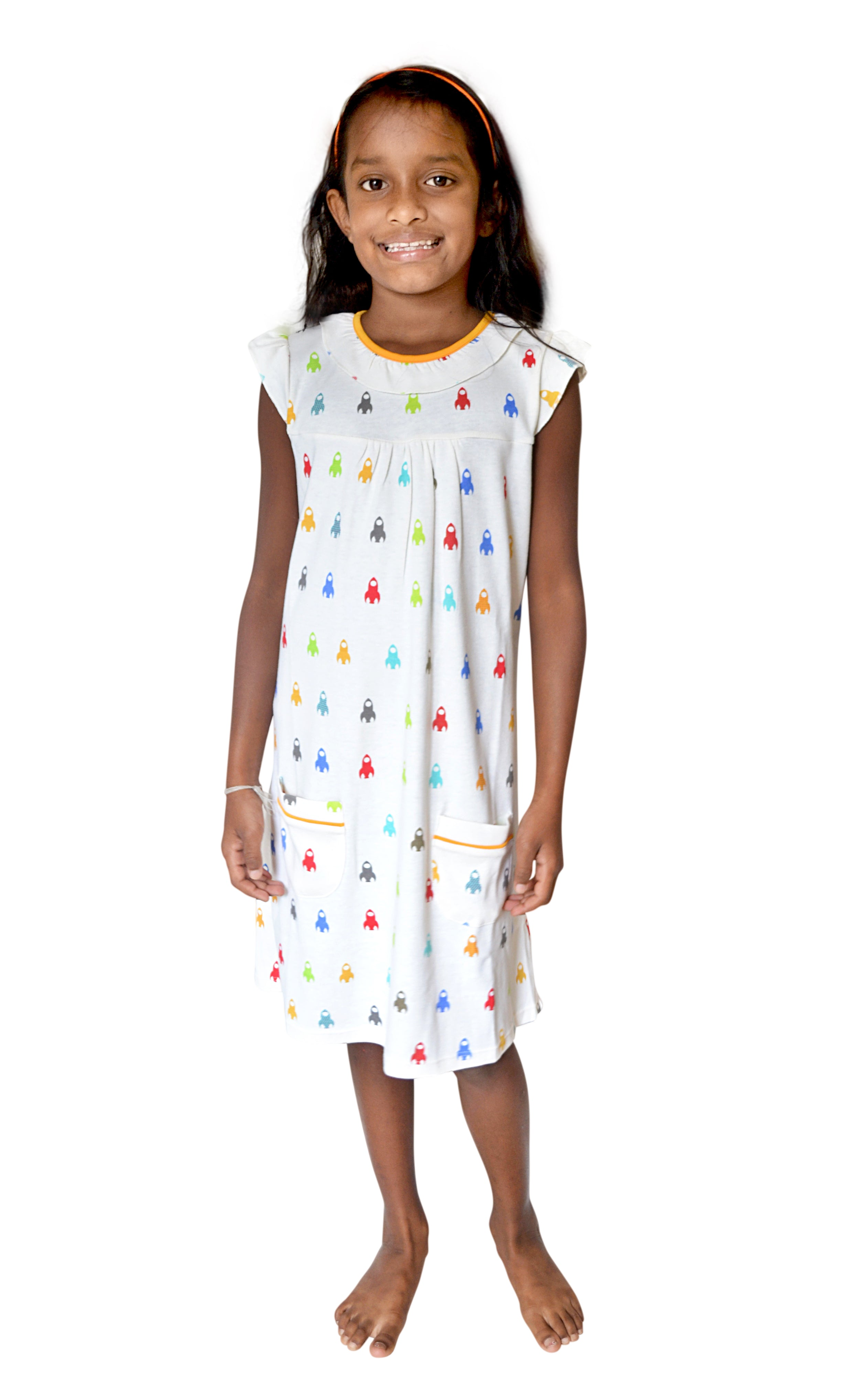 Rocketship Print 'No Polyester' Cotton Nightgown