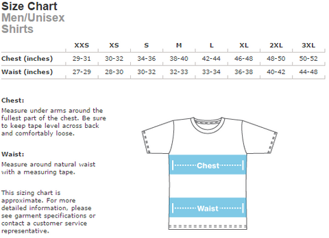 Unisex Tee Size Chart | Full Circle Clothing