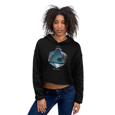 Black World Traveler Crop Hoodie