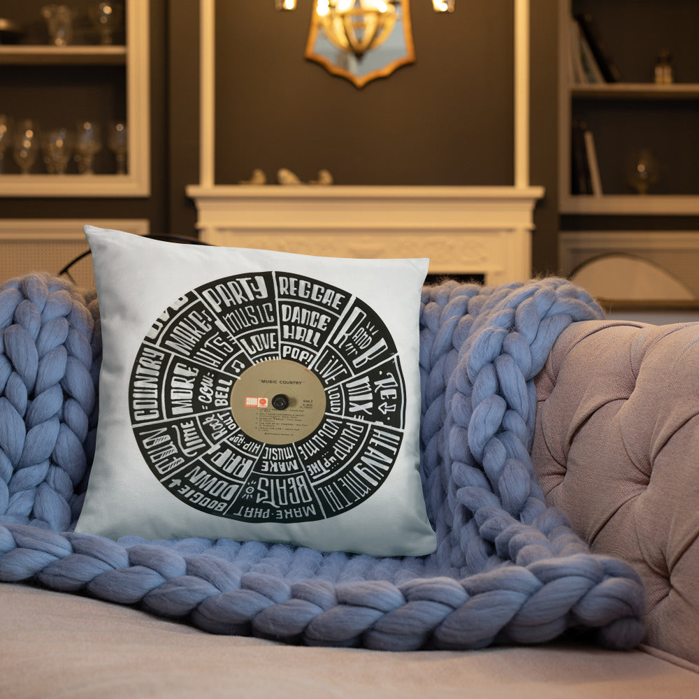 Hand Lettered music genres on Random Country music record - Pillow