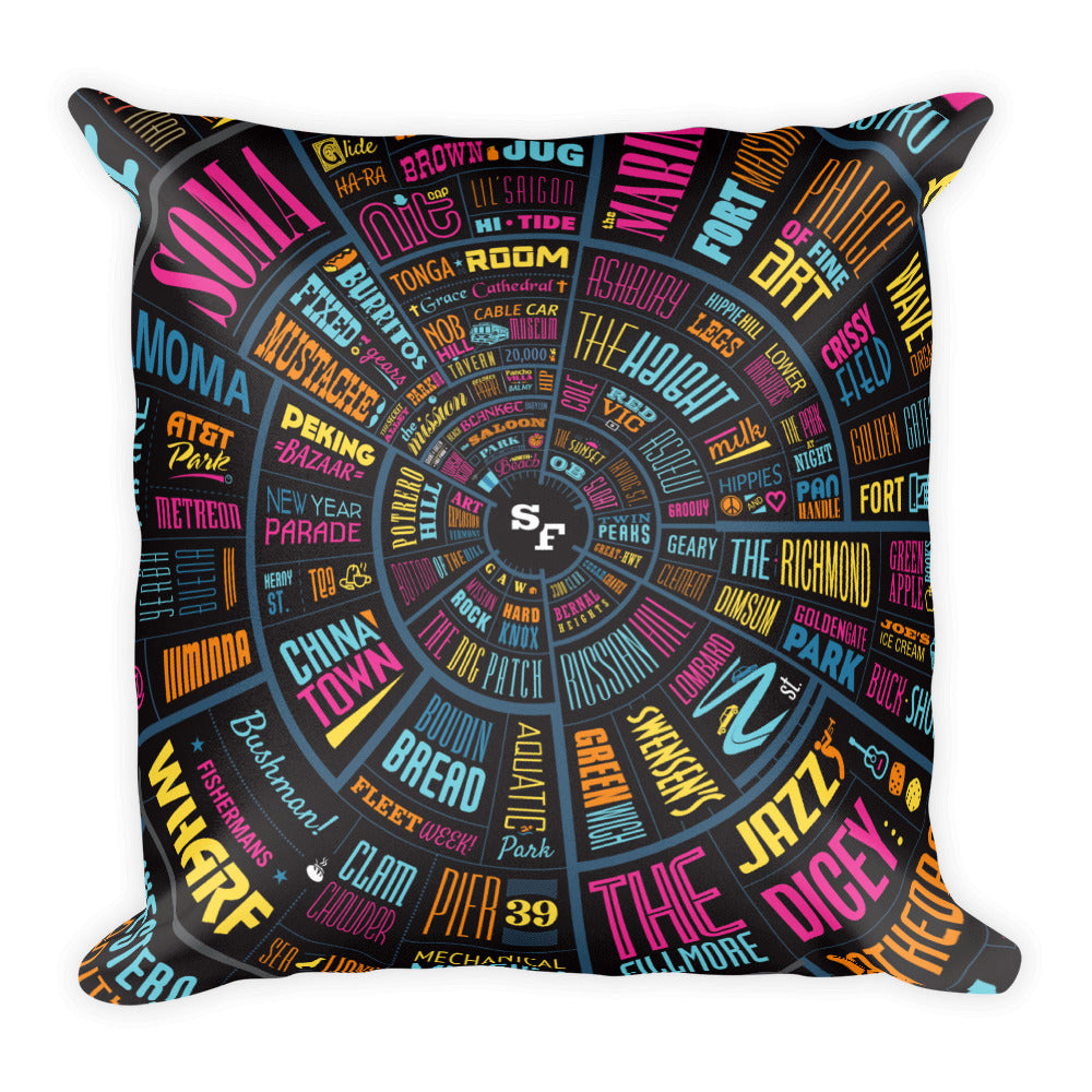 San Francisco Type Wheel - Square Pillow