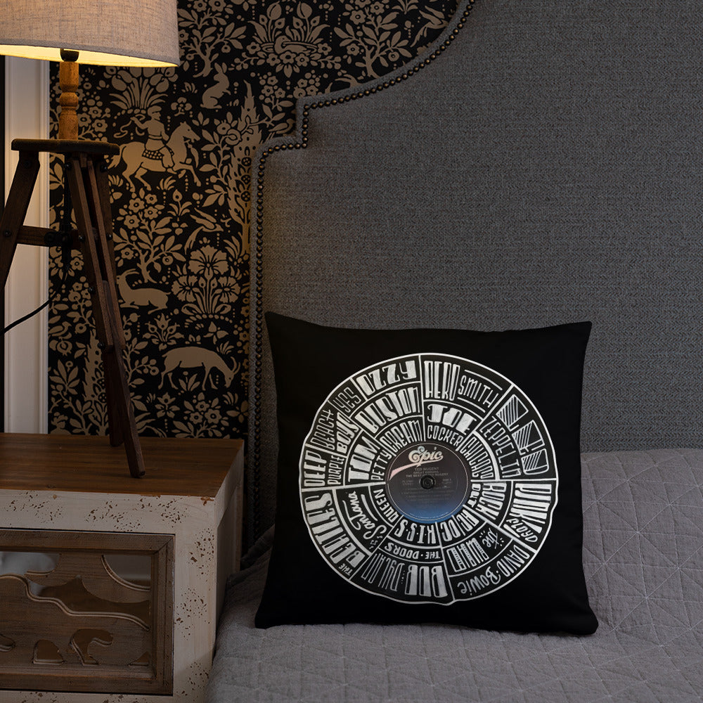 Classic Rock bands Hand Lettered on a Ted Nugent Record - Pillows