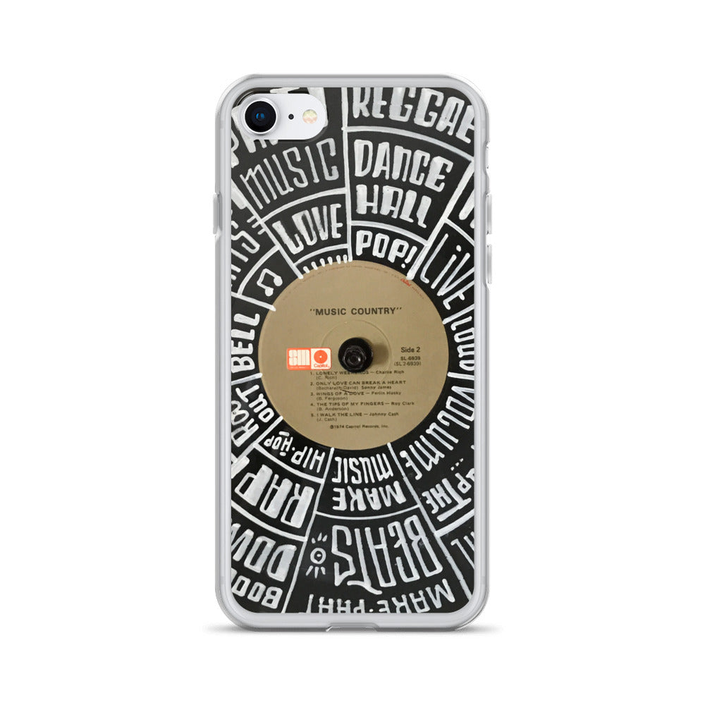 Hand Lettered music genres on Random Country music record - Iphone case - All sizes