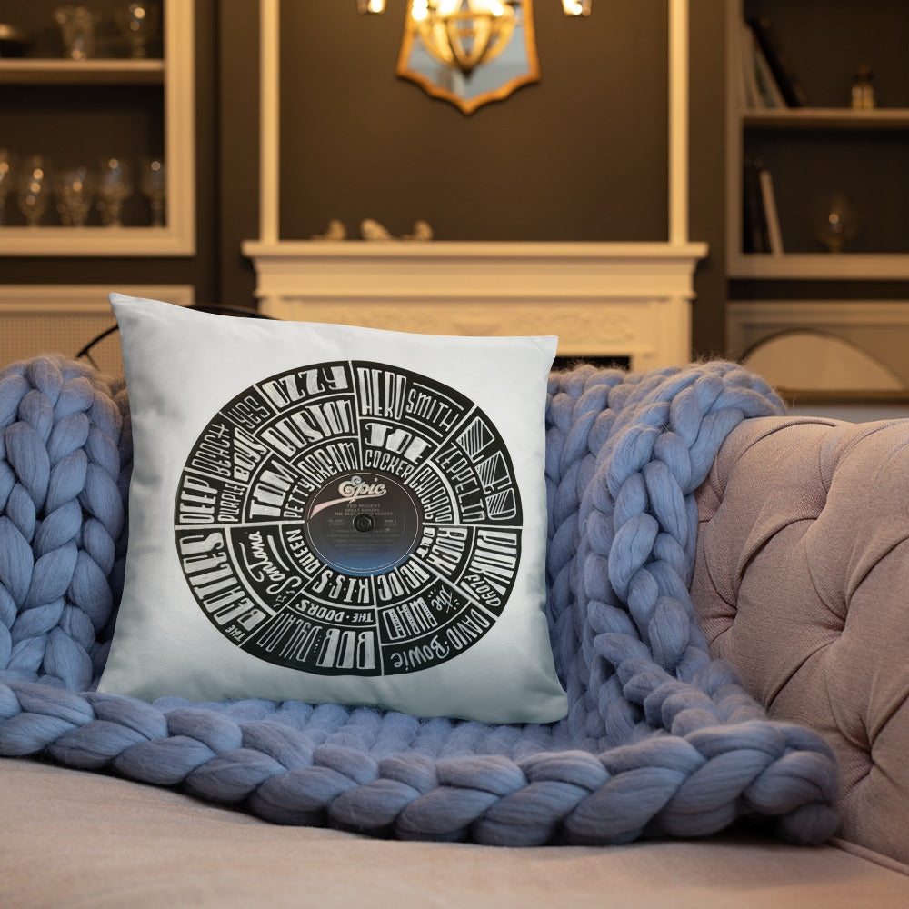 Classic Rock bands Hand Lettered on a Ted Nugent Record - Pillow