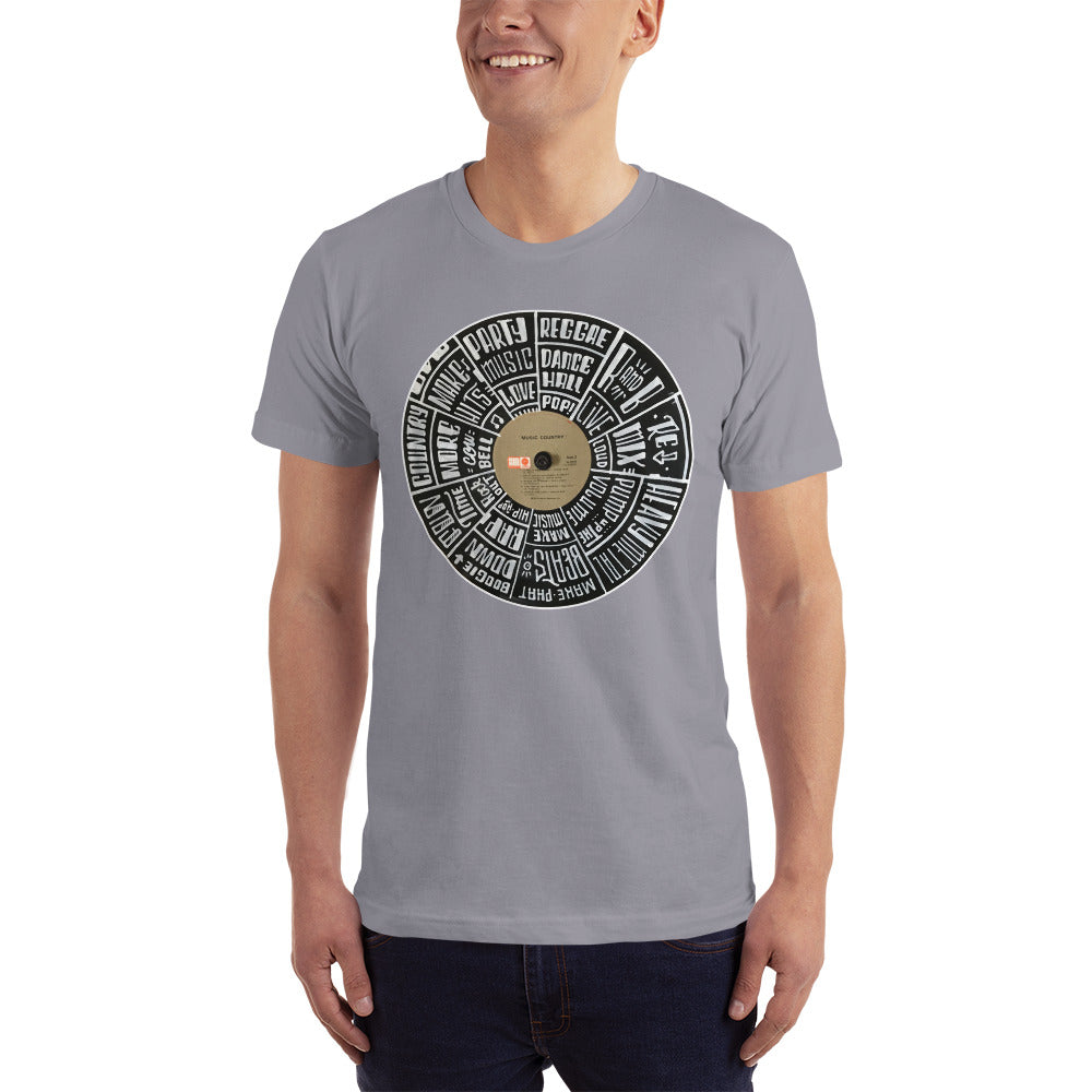 Hand Lettered music genres on Random Country music record - Men's T-shirt
