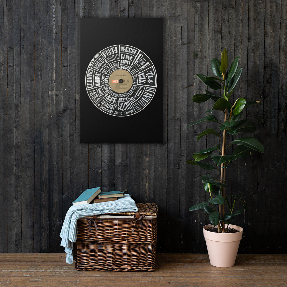 Hand Lettered music genres on Random Country music record - BLACK Canvas Wall Art