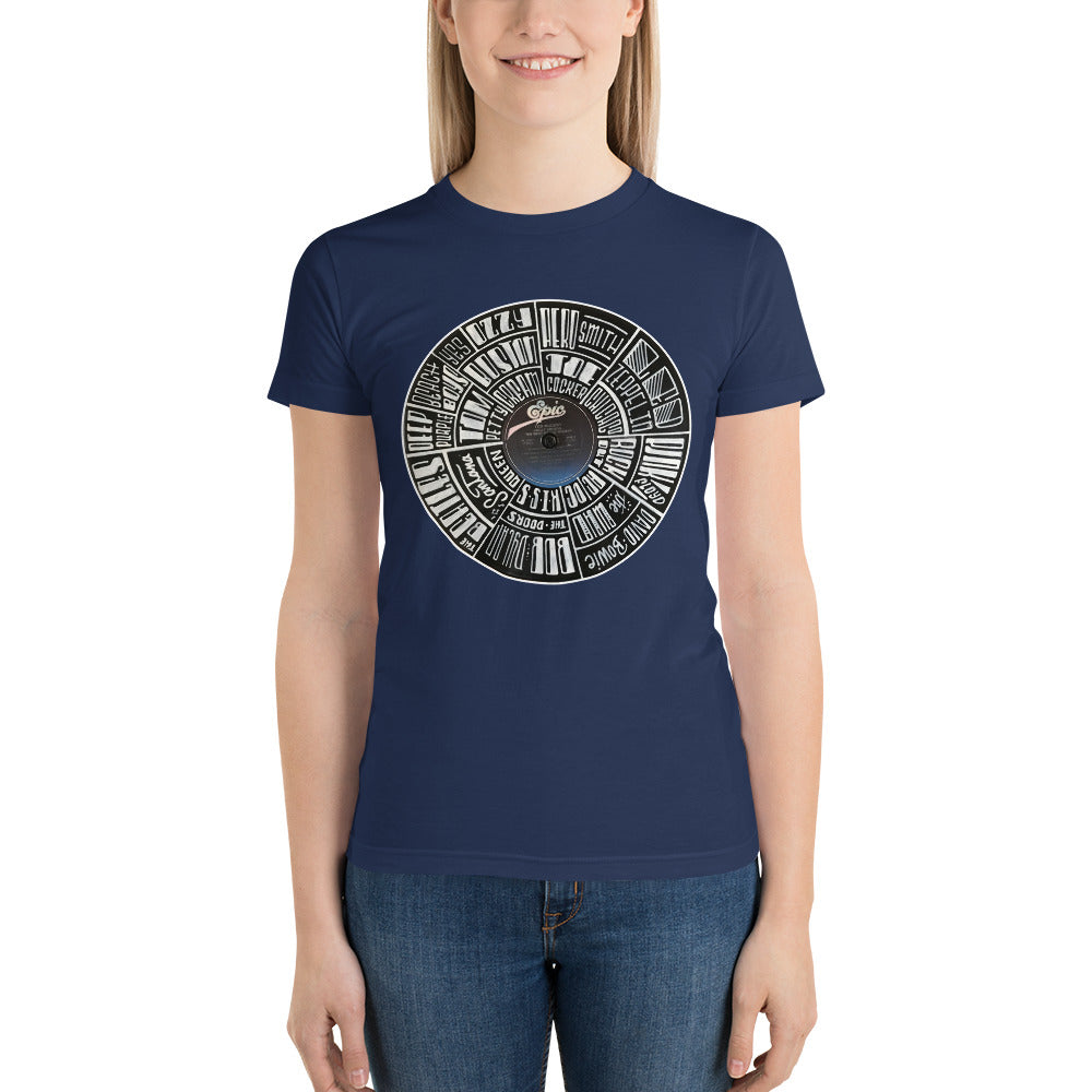 Classic Rock bands Hand Lettered on a Ted Nugent Record - Women's t-shirt