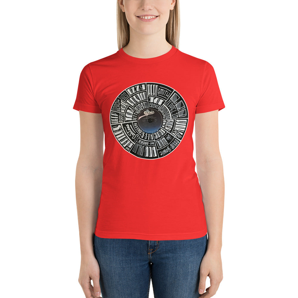hand lettered classic rock bands on a Ted Nugent Record - Women's t-shirt