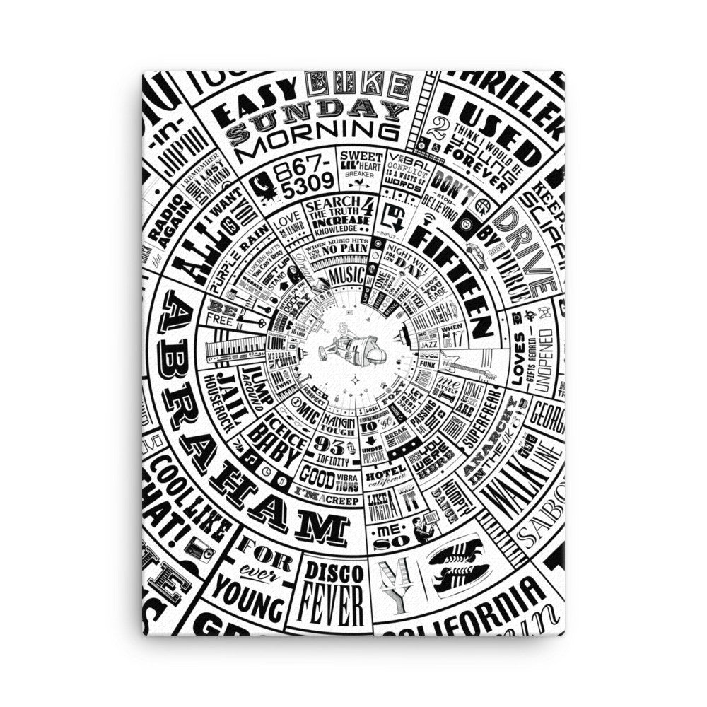 Musical Type Wheel design - Canvas Wall Art