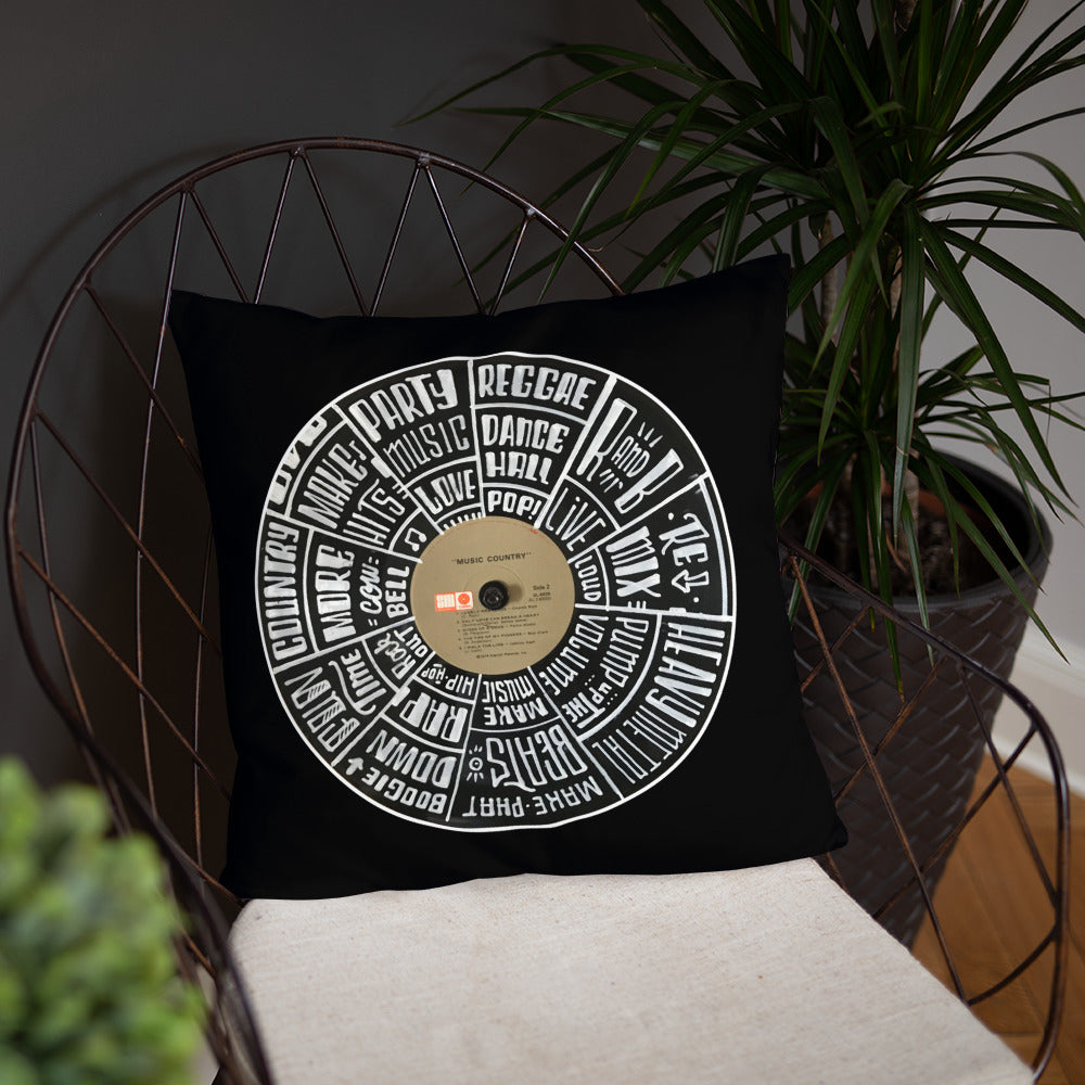 Hand Lettered music genres on Random Country music record - BLACK Pillow