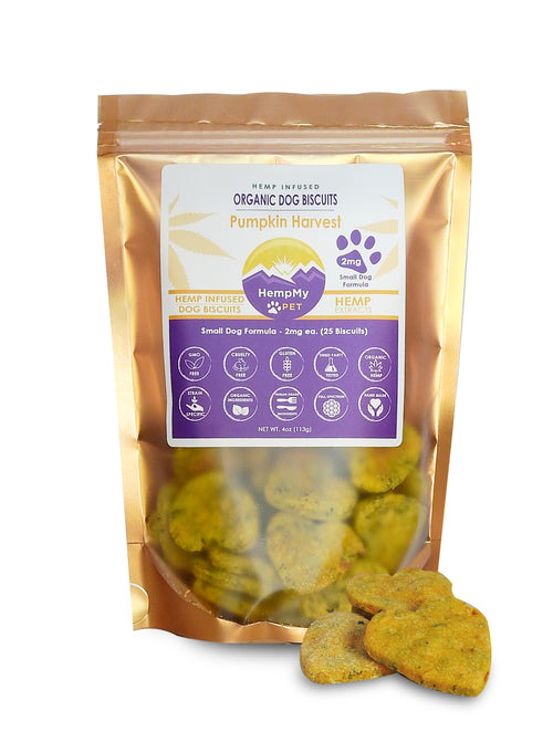 CBD Hemp Infused Organic Dog Biscuits - Handmade Small Dog Formula 2 mg