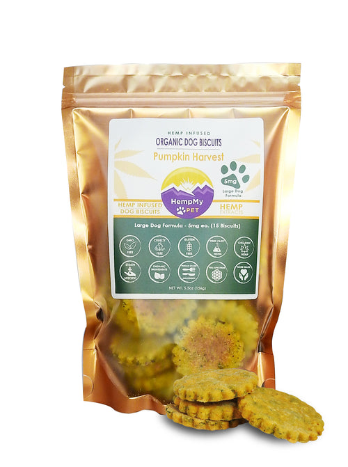 Hemp Infused Organic Dog Biscuits - Handmade Large Dog Formula 5 mg