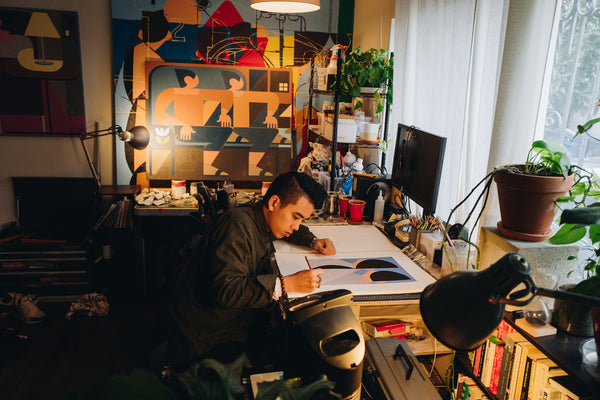 Artist Adrian Kay Wong in his studio