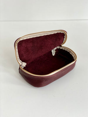 Erin Templeton Kiss and Makeup Bag Burgundy Leather