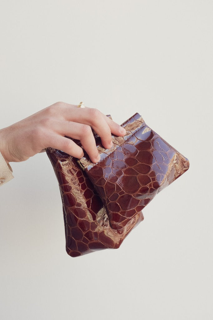 Hannah Emile Tall Stash Pouch Oxblood Croc Leather