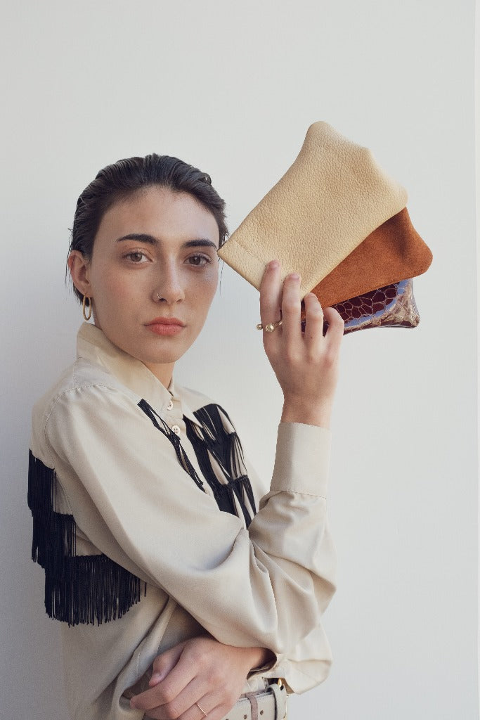 Hannah Emile Tall Stash Pouch Butter Leather