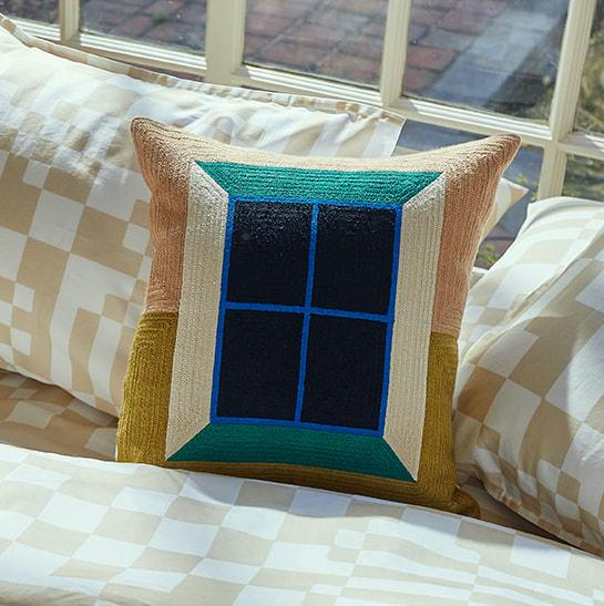 Dusen Dusen Window Embroidered Throw Pillow