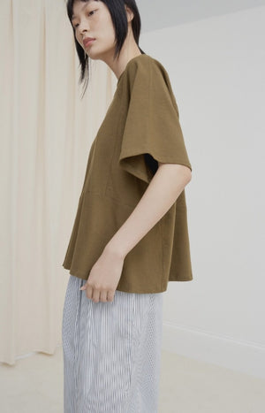 Kowtow Clothing Panel Tee Khaki Organic Cotton