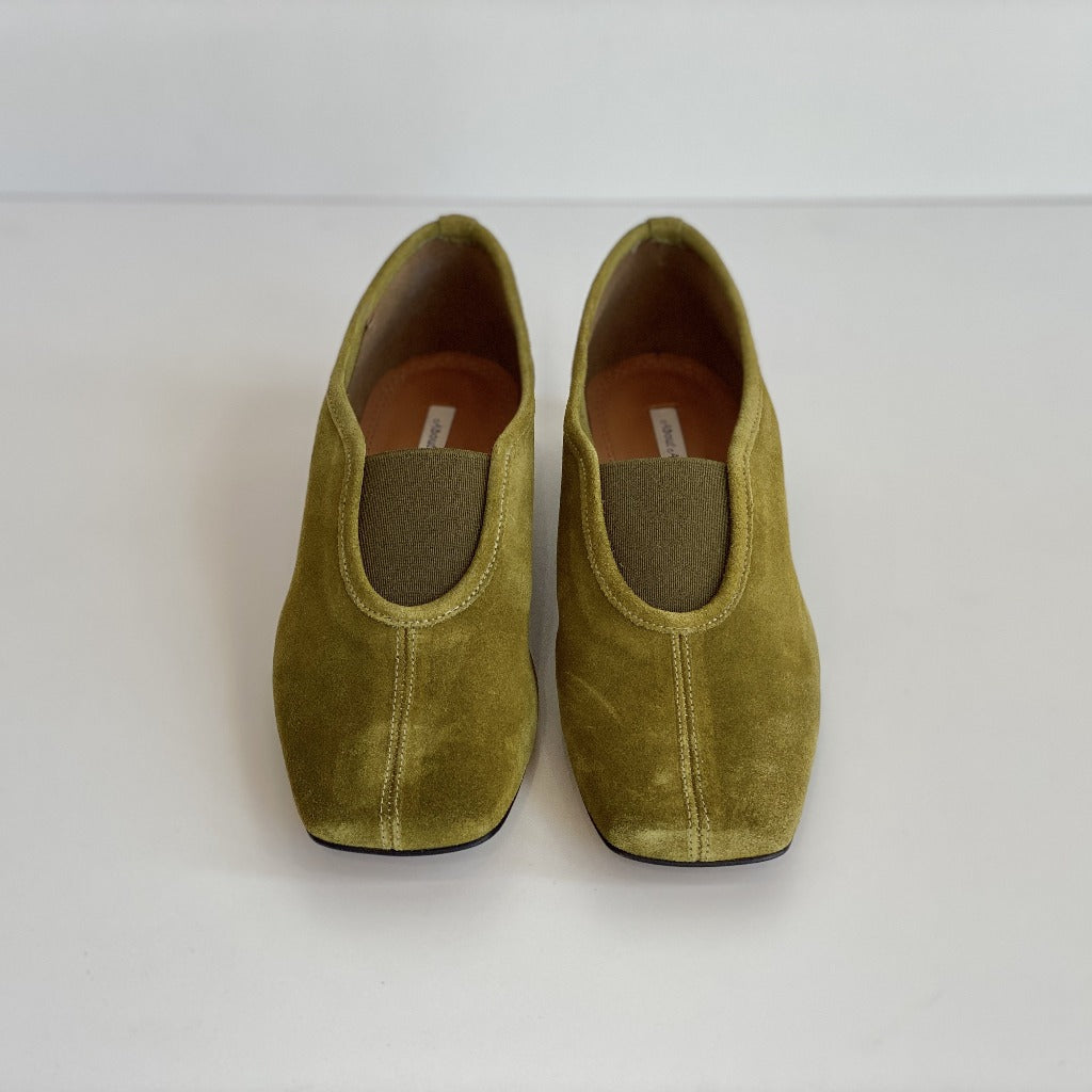 About Arianne Gillian Flats Moss Suede Leather Shoes