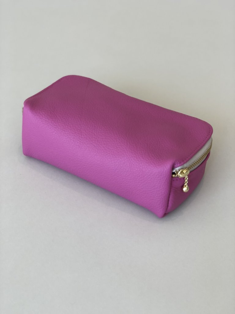 Erin Templeton Kiss and Makeup Bag Pink Leather Pouch