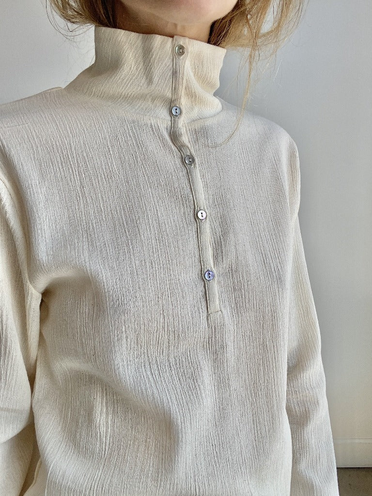 Signe Alma Highneck Henley Top Ecru Crinkle Cotton