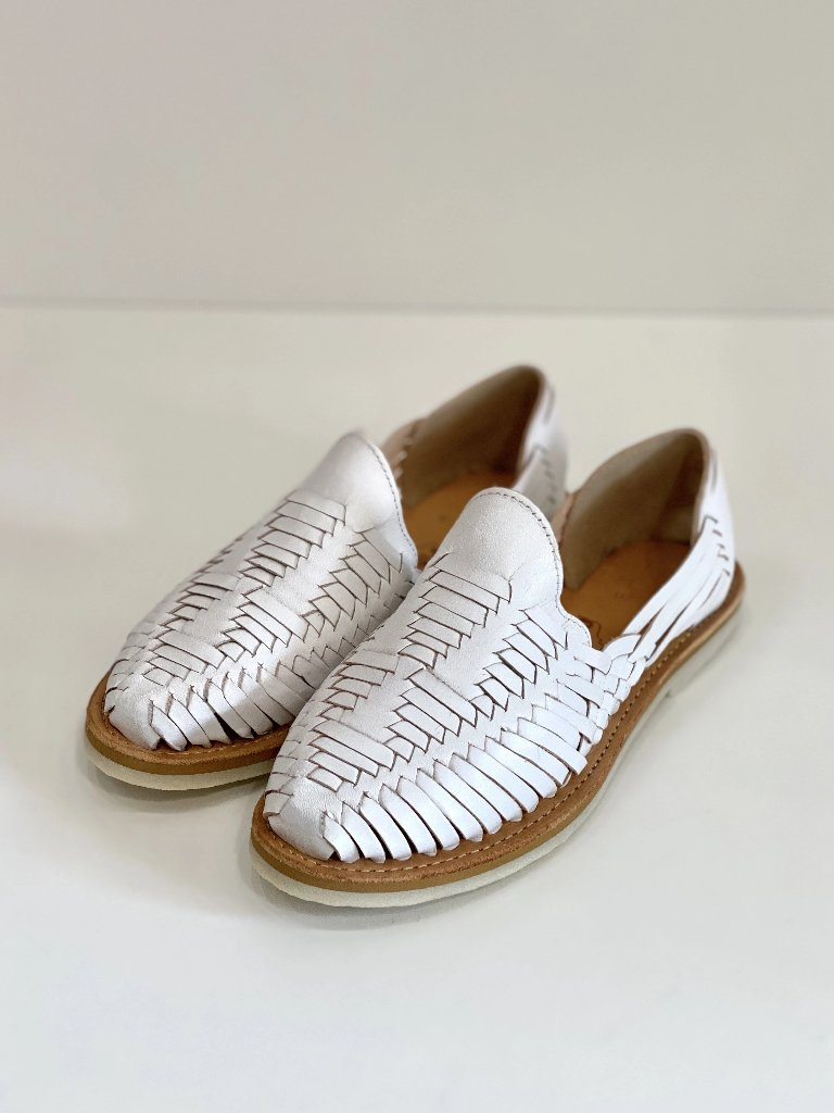 Chamula Cancun Huarache Sandal White Leather