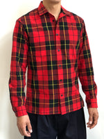Monitaly Mens Long Sleeve Vacation Shirt Red Tartan Plaid Cotton