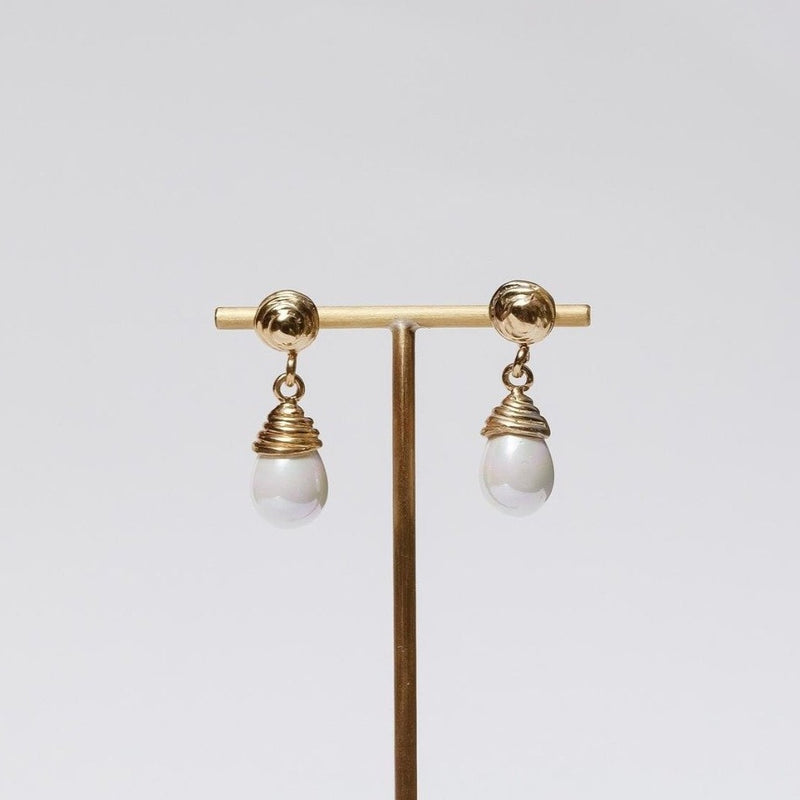 Luiny Blanca Earrings Brass and Pearl