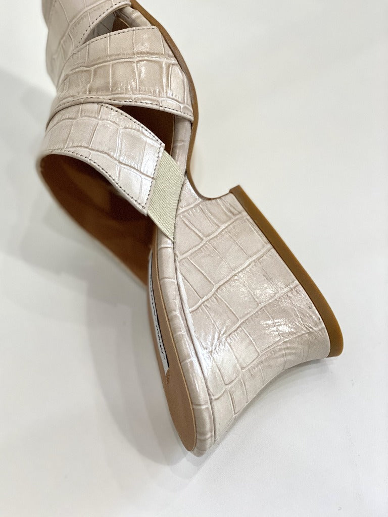 About Arianne Safari Heel Rice Croc Leather