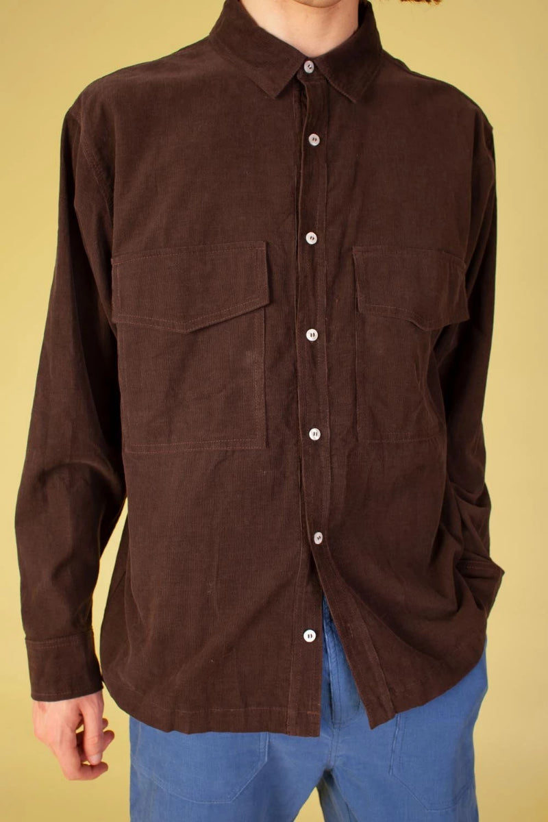 LF Markey Men's Ando Shirt Brown Fine Corduroy