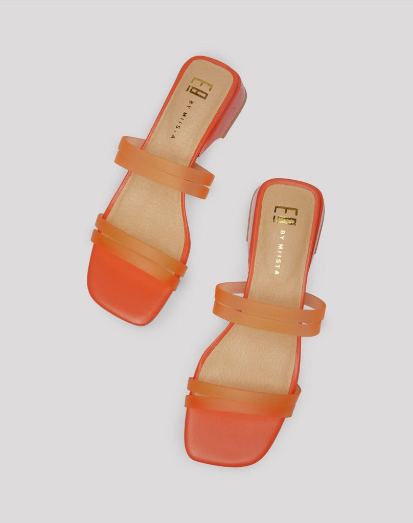 E8 by Miista Hamuera Sandal Orange Fluro Vinyl