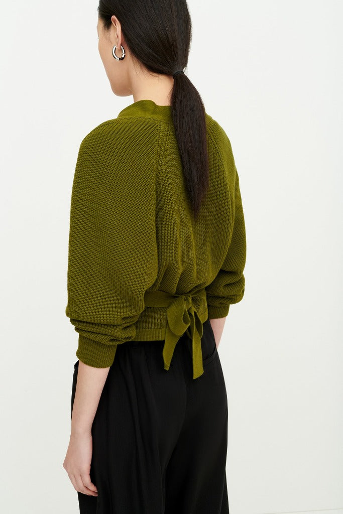 Kowtow Clothing Composure Cardigan Willow Green Organic Cotton Sweater
