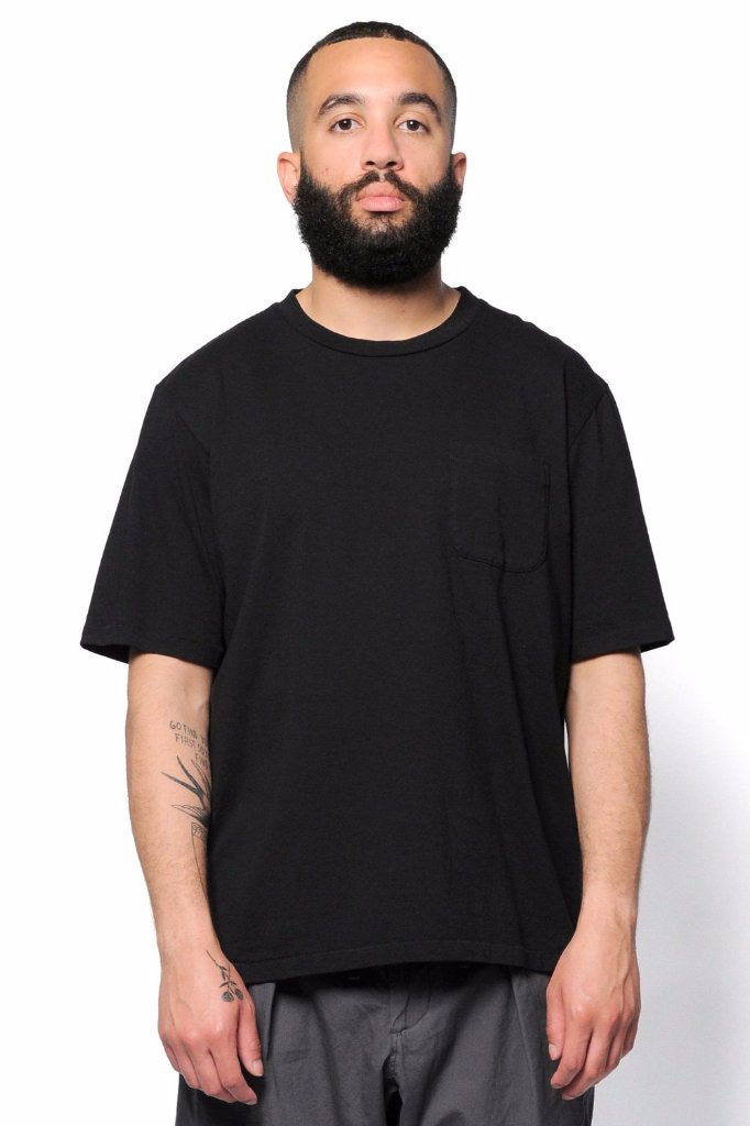 Monitaly Mens Oversized Pocket Tee Black Cotton
