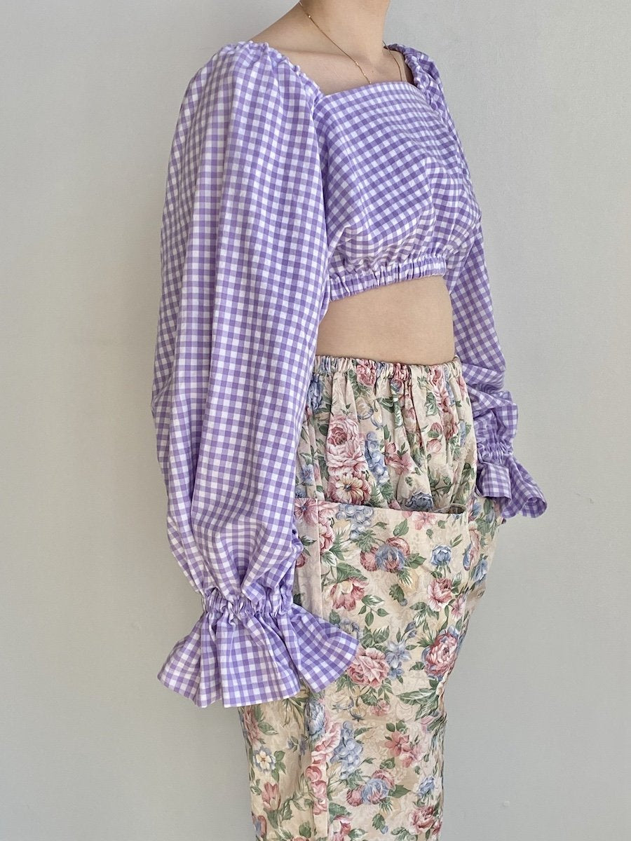 323 Selena Top Lavender Gingham Cropped Blouse