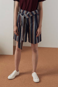 Kowtow Clothing Foldover Shorts Multi Stripe Organic Cotton Drill
